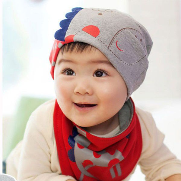 Sweet Infant Boys Girls Baby Cartoon Giraffe Print Cotton Hat Triangle Scarf Wholesale