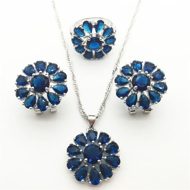 Luxury Montana Blue Jewelry Sets For Women 925 Sterling Silver Earring/Pendant/Necklace/Ring Free shipping
