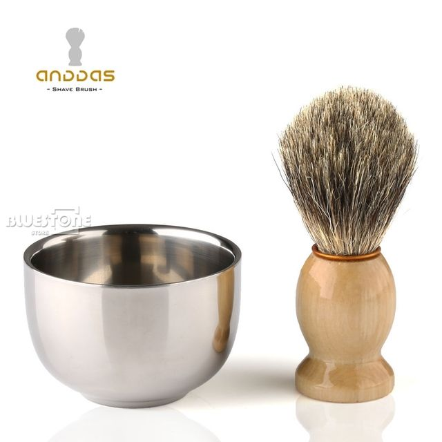 Men's Badger Hair Brush Stainless Steel Shaving Bowl Shaving Grooming Tool Set