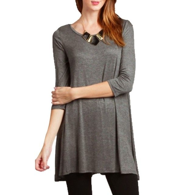 Autumn Women 3/4 Sleeve Sleeve Cotton Tees Tunic Long T-shirts Casual Loose O-neck Tops Plus Size nz17