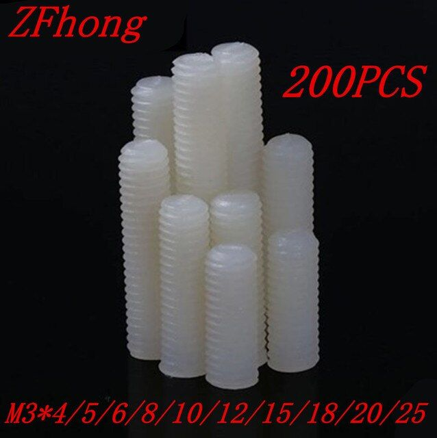 200pcs m3*4/5/6/8/10/12/15/18/20  white nylon plastic slotted set screw