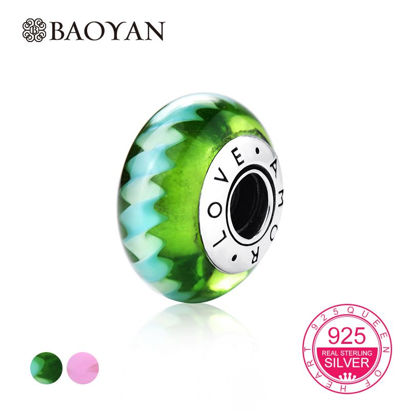 BAOYAN 925 Sterling Silver Green Pink Lines European Murano Glass Beads Charms for Girl DIY Bracelets & Bangles A55