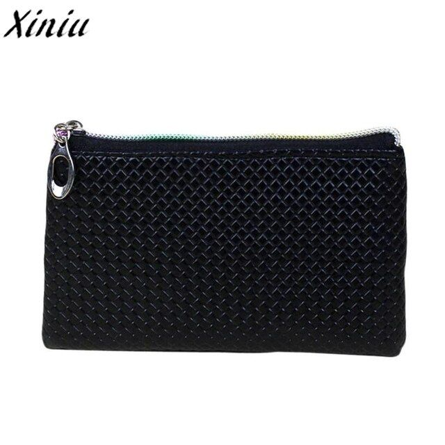 Women Coin Purse Candy Color Lattice Leather Zipper Mini Wallet Girl Small Fresh Clutch Change Bag Monederos Mujer Monedas #1221