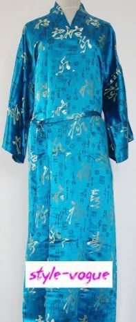 Light blue Chinese tradition Men's Polyester Satin Robe Kimono Bath Gown Sleepwear with Writed SIZE S M L XL XXL 3XL LZ-5