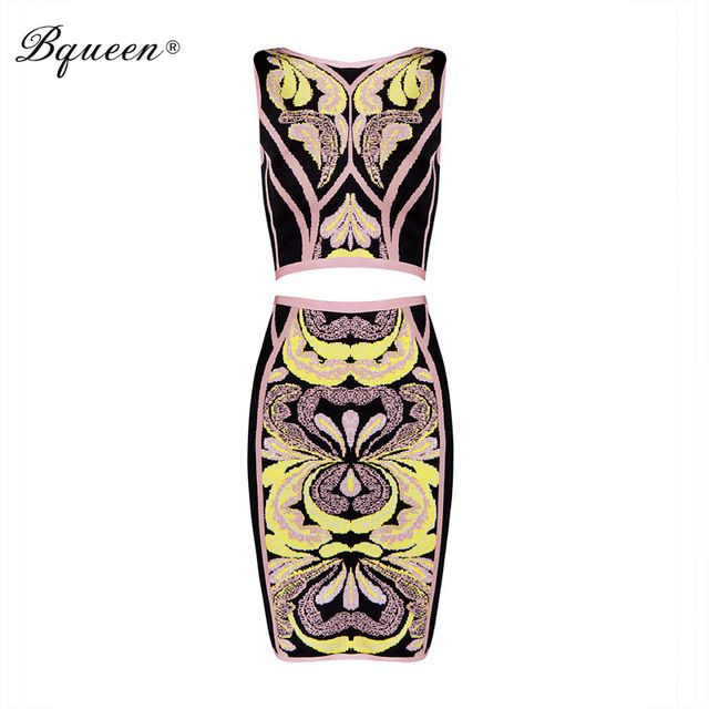 Bqueen 2017 New Popular Sexy Club Bodycon Jacquard Back Zipper 2 Piece Sets Bandage Dress