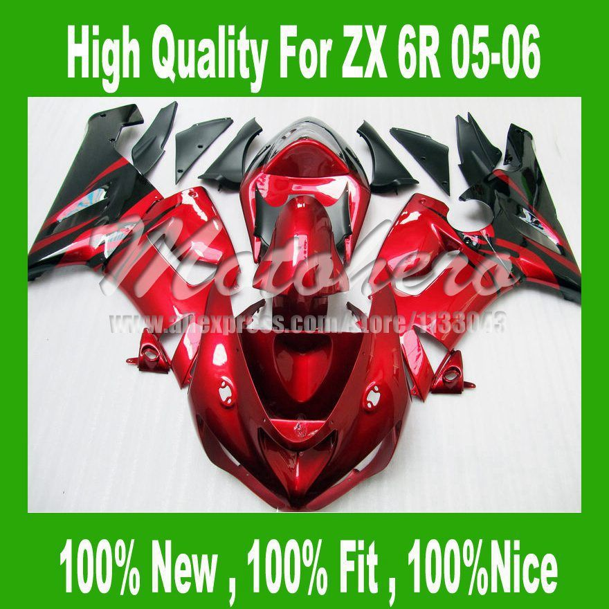 ABSBest-selling NINJA ZX 6R 636 fairing FOR KAWASAKI ZX 6R 05 06 ZX-6R 636 2005 2006 ZX6R ZX 6R 05 06 ABS fairing kits Red black