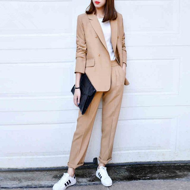 2016 Spring Newon Vintage Soild Color Loose Suit Jacket And Pants Fashion Women's Suit Plus Size