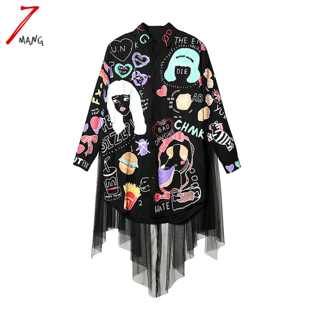 2016 autumn women cute street harajuku black cartoon printing sequins blouse turn down collar slim mesh long shirts