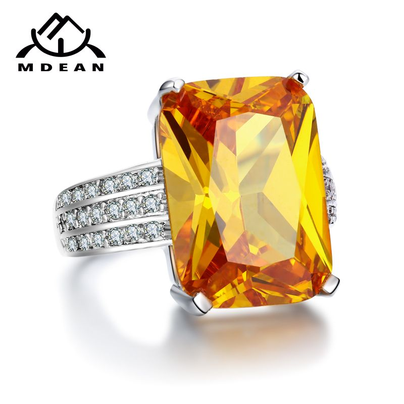 MDEAN White Gold Color big yellow stone Rings For Women jewelry engagement wedding women rings bijoux bague size 5-12 MSR890