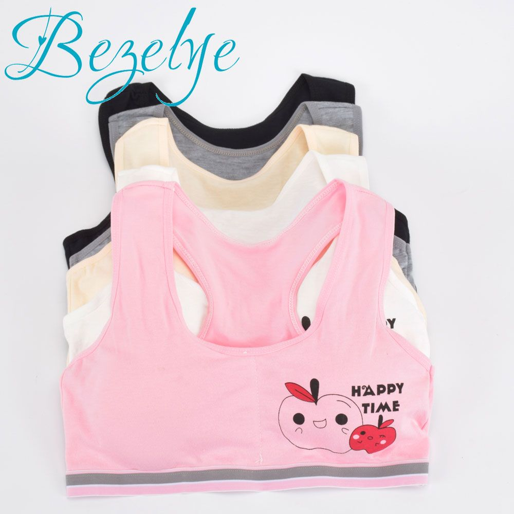 2018 Young Girls Bra Cotton Puberty Girl Underwear Wirefree Bra for Teens Vest Fashion Young Girls Bra