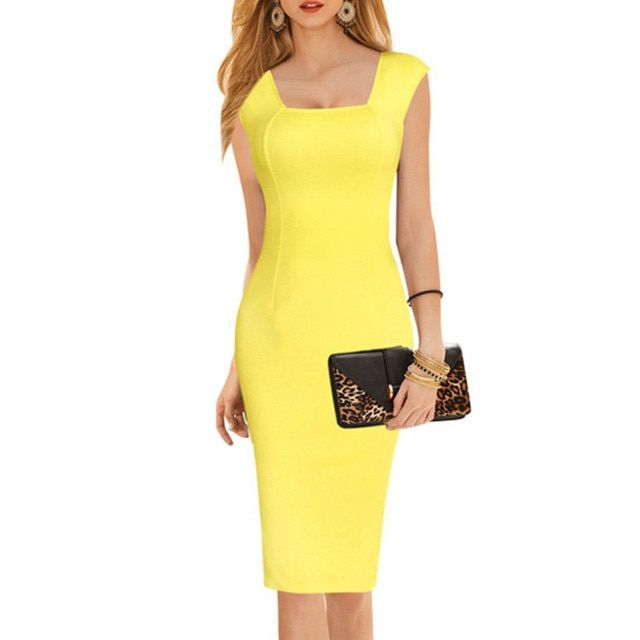 Adogirl Square Collar Office Dress Women Back V Sleeveless Knee Length Work To Wear Pencil Midi Dresses Plus S-6XL Vestidos