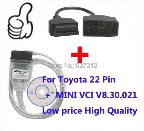 For Toyota 22 Pin OBD Adaptor for Toyota Mini VCI Tis Techstream 16 Pin Mini -VCI Interface,MINI-VCI J2534 OBD2 diagnostic tool