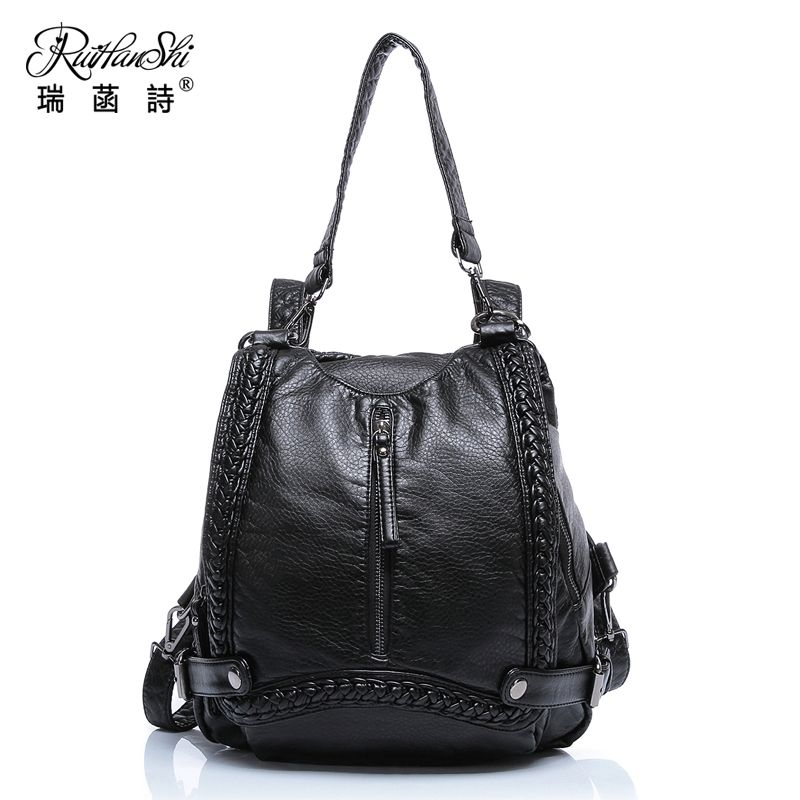 2016 HIGH Quality women backpacks fashion leather ladies backpack famous brand designer zipper bags softback  travel  school bag