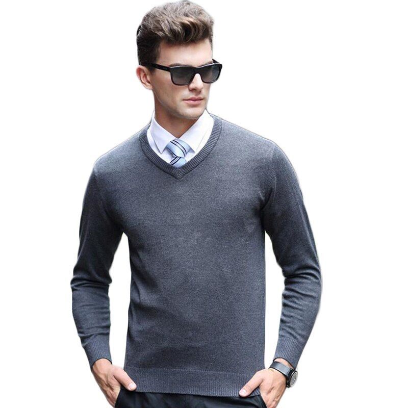 Sweaters Mens Pure Cashmere Knitted Winter Warm Pullovers V-neck Long Sleeve Male Jumper Casual MC6921201