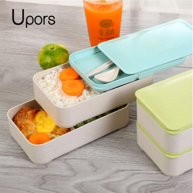 UPORS 2 Layers Natural Wheat Straw Lunch Box Leakproof Student Kids Microwave Lunchbox Food Box Container Japanese Bento Box