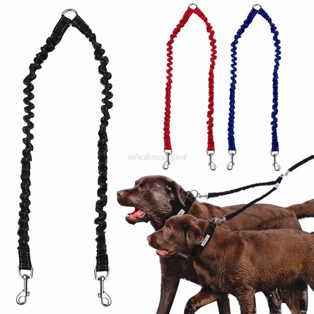 Double Dog Leash Elastic Bungee Pet Coupler Walking Leads For 2 Twin Dogs  Leashes Splitter 3 Colors Avaliable