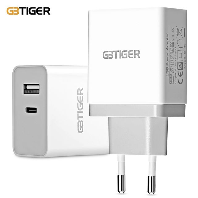 GBTIGER Type-C + USB 2.0 5V 3A Quick Charger Adapter EU PLUG for universal mobile phones and tablets PCs Phone charger adapter