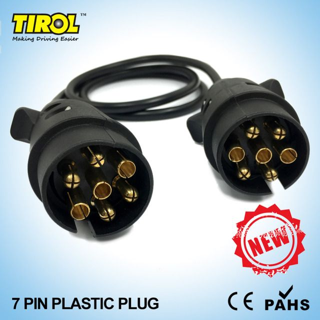 TIROLT23487b 7 -Pin Plastic Plug Black Trailer Wiring Cable Connector 12 N type X2 12N Plugs 8.2M