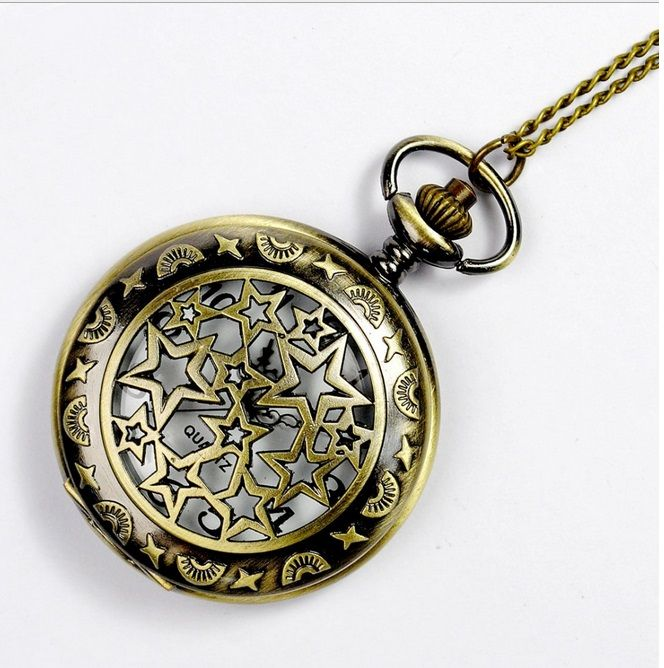 Small POCKET WATCH Woman HOLLOWED STARS Constellation flowers Rim Bronze Necklace Watch Vintge Jewelry Women