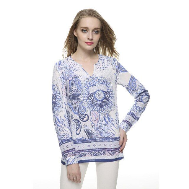 Women Vintage Print Blue blouses V-neck collar long sleeve office work shirts casual loose tops LT467