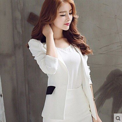 2016 Fashion Winter Women Suit Femme white Blazers And Jackets Solid color slim ladies work wear blazer feminino chaquetas Coat