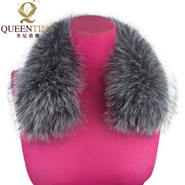 100% Real Fox Fur Collar Silver Black Fox Fur Square Collar Ring Scarf Womens Genuine Natural Fox Fur Scarves Collar Accessories