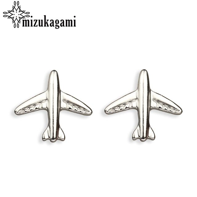 New Fashion Zinc Alloy Plane Stud Earrings Sweet Earpins For Women Date Party Christmas Gift JM-17001