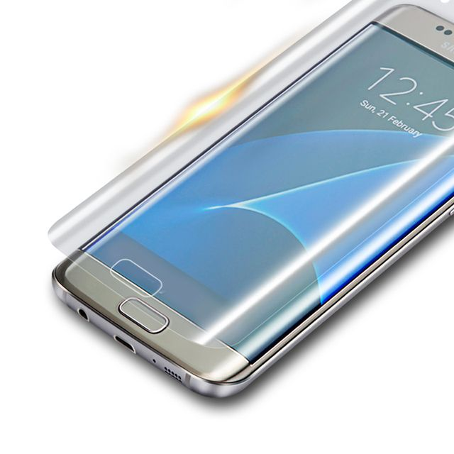 For Samsung Galaxy S6 Edge Screen Protector 3D Curved Full Cover Protective Film For Galaxy S7 Edge( Not Tempered Glass )