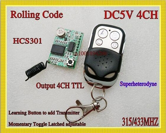 Rolling code Receiver Module+Transmitter RF Wireless Remote Control super-heterodyne DC3-5V  Learning code 4Channel Output  TTL
