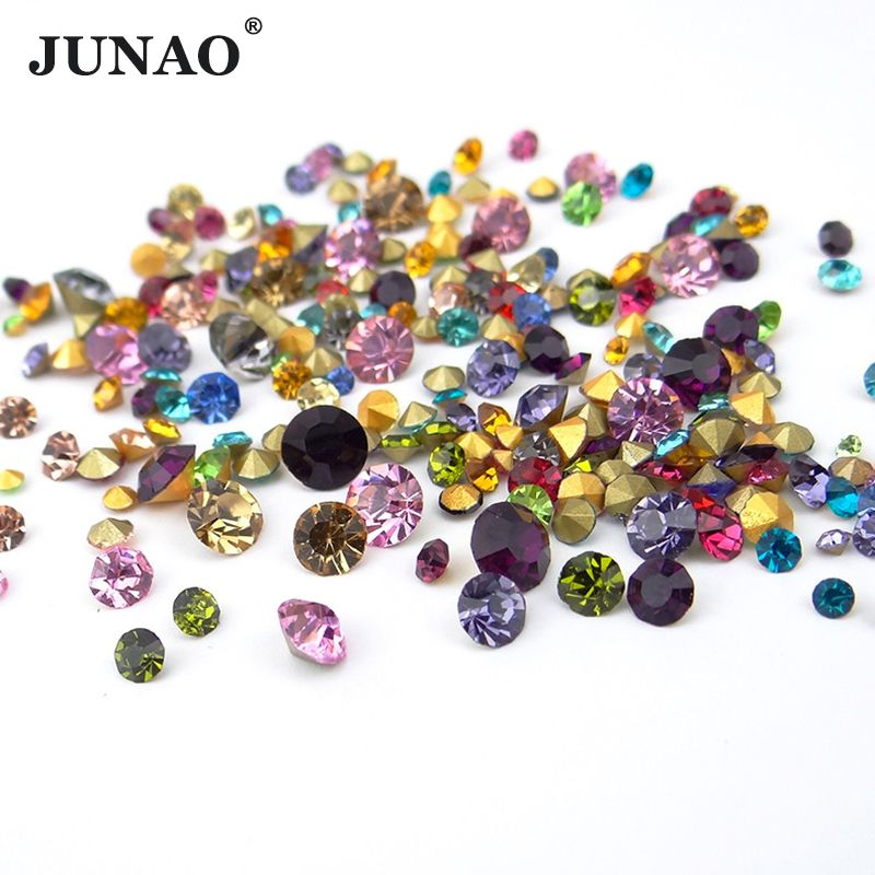 JUNAO 1100pc SS 6 10 16 30 Mix Size Color Glass Nail Rhinestone Set Pointback Crystal Stones Round Strass Diamond Decoration