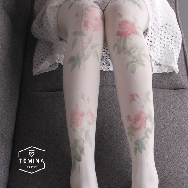 NOVIA SW-001 autumn spring women's tights high quality painted roses printing 80D velvet women girls pantyhose