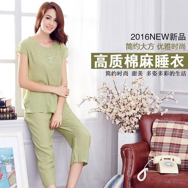 Middle-aged and old women's  wear suit loose cotton two-piece mom wear short-sleeved t-shirts middle-aged female coat pants