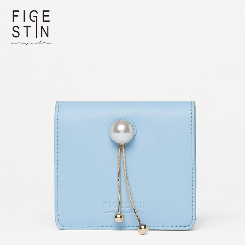 FIGESTIN Women's Wallets for Credit Cards Fashion Blue Purse with Pearls Small Mini Women's Wallets and Purses Evening Luxury