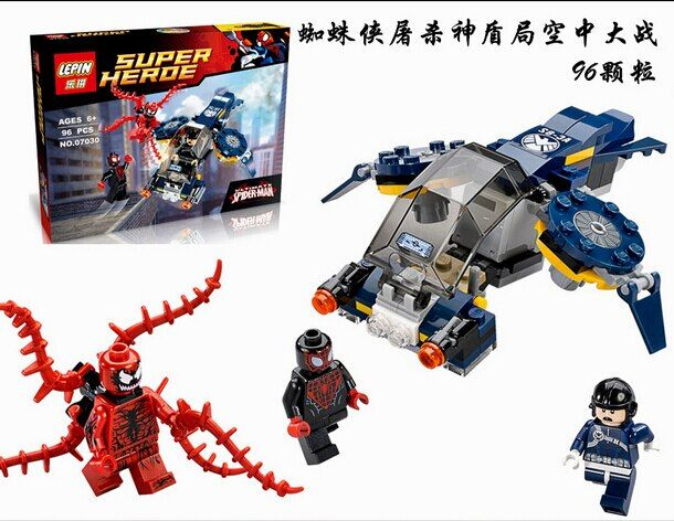 96pcs Marvel SuperHeroes series Carnage SHIELD Sky Attack Model Building Blocks figures Compatible With Legoed