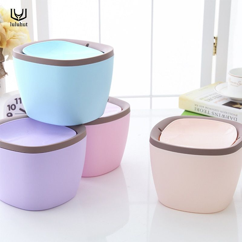 luluhut Mini desktop trash can waste garbage paper basket small table rubbish bin kitchen storage plastic waste bucket