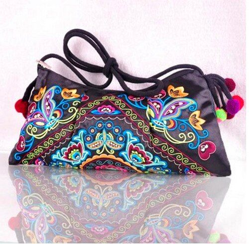New arrival Ethnic Embroidery Shoulder Bags Fashion Girls Pompon Messenger Bags  Hmong Handmade Vintage Clutches  CA026