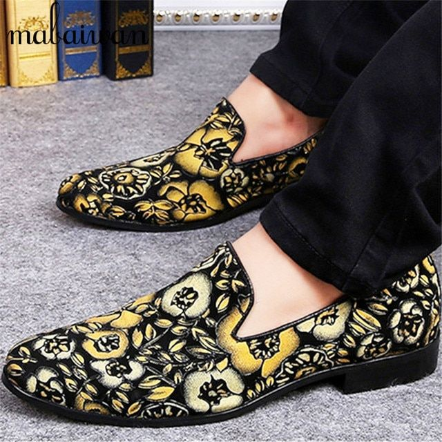 Flower Print Men Espadrilles Casual Flat Shoes Genuine Leather Loafers Wedding Dress Shoes Mocassin Homme Flats Plus Size 38-46