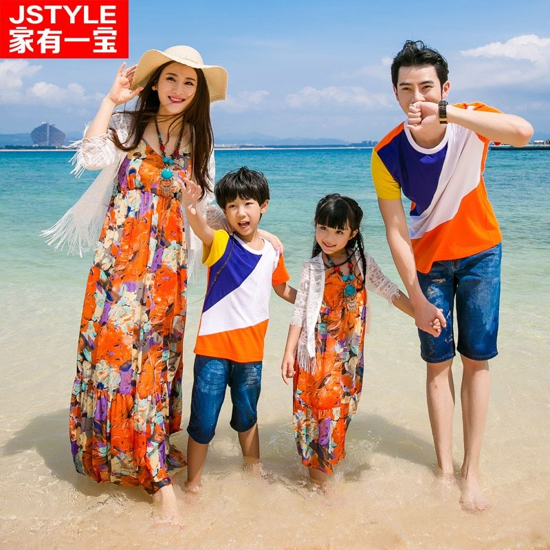 2017 Matching Father Mother Baby Clothing Daughter Mother Colorful Maxi Dress Father Son Beach T-shirt Family Matching Clothes