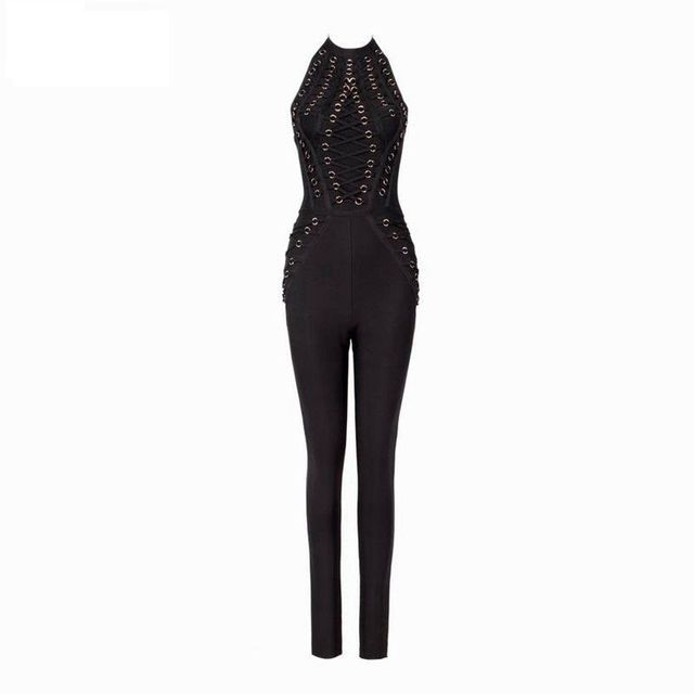 2016 New Winter Women Runway Bandage Jumpsuit Black Pink O-Neck Sleeveless Full Length Party Bodycon Bodysuit Wholesale