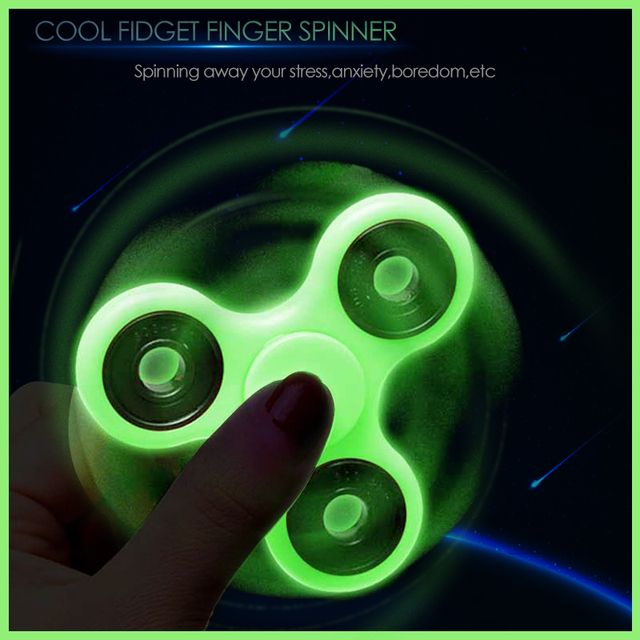 Luminous Tri Fidget Hand Spinner Light in Dark EDC Tri-Spinner Batman Finger Toys Relieve Anxiety Autism ADHD for Child & Adult