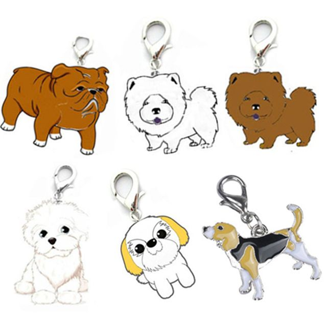 Pet Collars Pendant 25mm Dog Tag Disc Disk Pet ID Enamel Accessories Collar Necklace Pendant Dog Breeds Cartoon Pendant 30D17