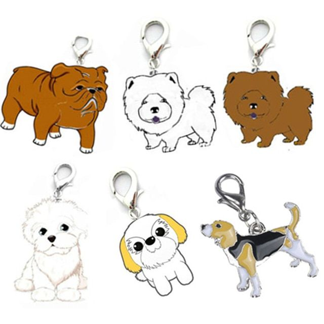 Pet Collars Pendant 25mm Dog Tag Disc Disk Pet ID Enamel Accessories Collar Necklace Pendant Dog Breeds Cartoon Pendant D17