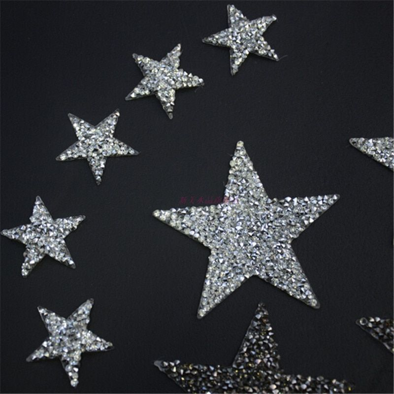 Sparkling Rhinestone Five-pointed Star Pattern Clothes Patches Fashion Sequined Shoes/hats/bags Appliques Bling Iron-on Patches