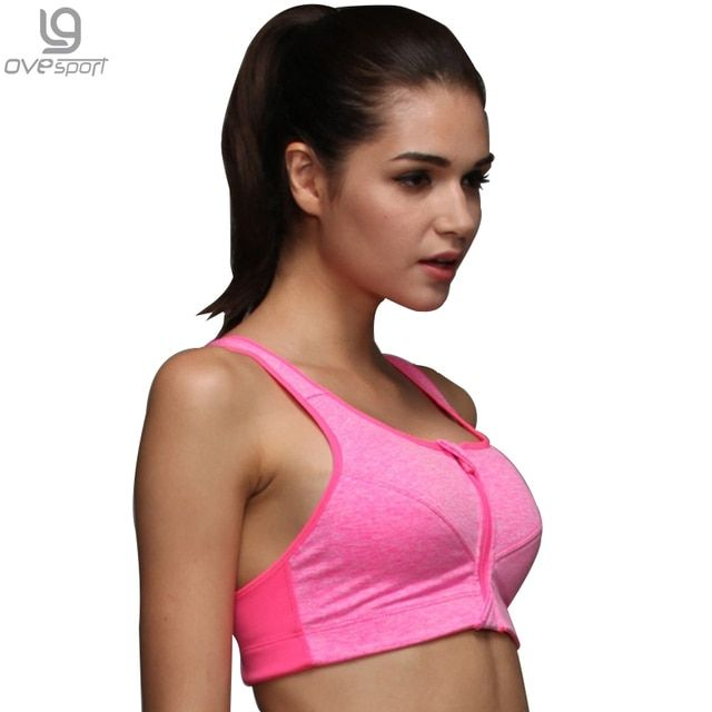 Women's Workout Bras Padded Tops Female Push Up Brand Bra Front Zipper Fitness Tank Top Comfortable Breathable Exercise Vest1001