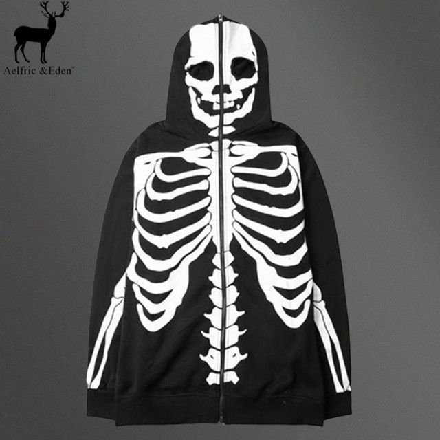 Aelfric Eden Punisher Men Rock Skeleton Hoodies Men Hip Hop Hooded Sweatshirt Skulls Punk Rock Streetwear Hoodies Sweatshirts