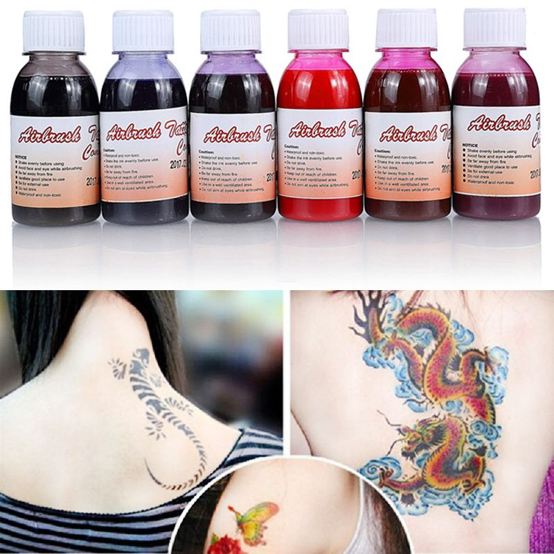 100ml/Bottle Waterproof Airbrush Tattoo Ink For Body Painting Black Red Yellow Temporary Body Tattoo Inks Paint Pigments Makeup