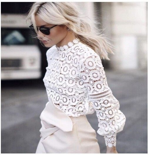 2016 new arrive self portrait lace tops flower Crochet Lace Blouse Autumn round neck long sleeve women white lace blouses SP