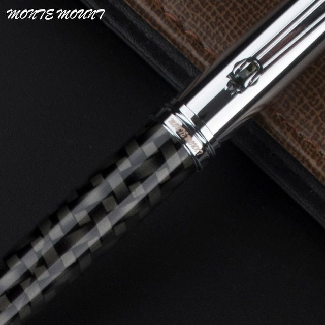 MONTE MOUNT Ballpoint Pen White Silver and black fiber Clip Metal Stainless Steel Pens Brand Pen