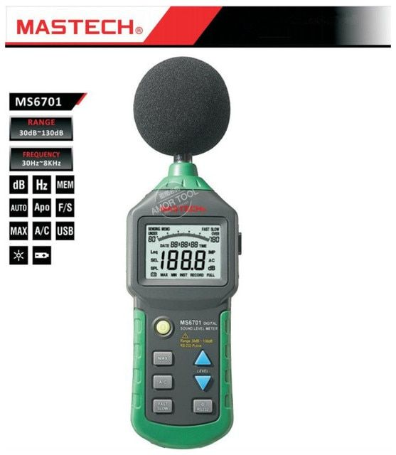 MASTECH Digital sound level meter 30-130dB usb lcd display with bar graph 30Hz-8000Hz backlight decibel meter sound level