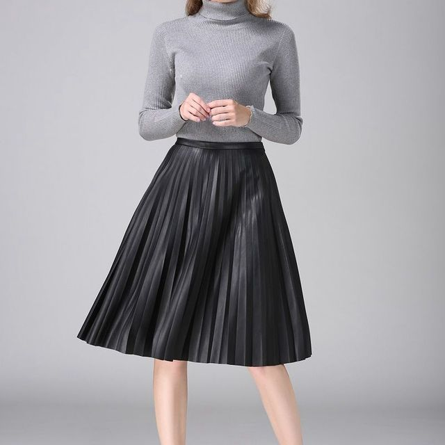 New autumn and winter European and American retro pu high waist leather skirt solid color organist pleated skirt